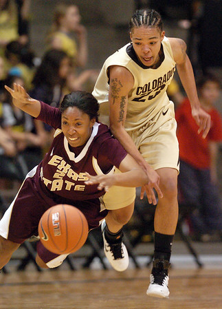 """Dawn Kiel of Texas State, gets the ball stolen by Chucky Jeffery of Colorado.<br /> For more photos of the game, go to  <a href=""""http://www.dailycamera.com"""">http://www.dailycamera.com</a>.<br /> Cliff Grassmick / December 1, 2010"""