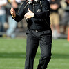 University of Colorado football coach, Dan Hawkins, tries to get the attention of his players in the Colorado Texas Tech game played in Boulder on October 23. 2010.<br /> Cliff Grassmick / October 23, 2010