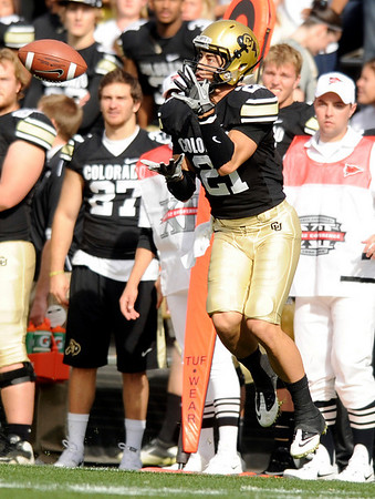 University of Colorado receiver Scotty McKnight makes a catch   during the football game against Texas Tech on Saturday, Oct. 23, at Folsom Field.<br /> Jeremy Papasso/ Camera