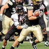 University of Colorado tight end Tyan Deehan shakes a tackle from Texas Tech safety Cody Davis during the football game against Texas Tech on Saturday, Oct. 23, at Folsom Field.<br /> Jeremy Papasso/ Camera