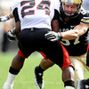 University of Colorado senior Cameron Ham makes a tackle on Texas Tech sophomore Eric Stephens during the football game against Texas Tech on Saturday, Oct. 23, at Folsom Field.<br /> Jeremy Papasso/ Camera