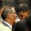 "CU coach Jeff Bzdelik has some words for Dwight Thorne, after he was taken out of his last home game at Colorado.<br /> For more basketball photos, go to photo galleries at  <a href=""http://www.dailycamera.com"">http://www.dailycamera.com</a>.<br /> Cliff Grassmick / March 6, 2010"