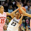 """Chucky Jeffery of CU is double teamed by Casey Morris (15) and Monique Smalls of Texas Tech.<br /> For more photos of the CU game, go to  <a href=""""http://www.dailycamera.com"""">http://www.dailycamera.com</a>.<br /> Cliff Grassmick / February 12, 2011"""