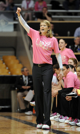 "CU coach Linda Lappe in the Texas Tech game.<br /> For more photos of the CU game, go to  <a href=""http://www.dailycamera.com"">http://www.dailycamera.com</a>.<br /> Cliff Grassmick / February 12, 2011"