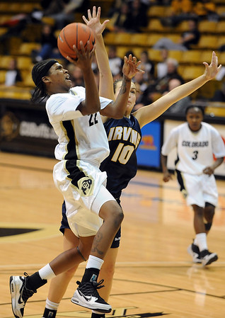 Brittany Spears of CU goes up to score late in the game against UC-Irvine.<br /> <br /> Cliff Grassmick /November 15, 2009