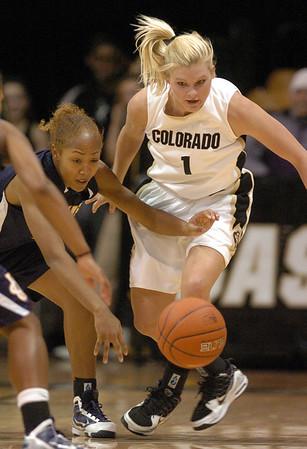 Alyssa Fressle (1) of CU, attempts a steal past Jazmyne White of UC-Irvine.<br /> <br /> Cliff Grassmick /November 15, 2009