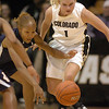 Alyssa Fressle (1) of CU, attempts a steal past Jazmyne White of UC-Irvine.<br /> <br /> Cliff Grassmick /November 15, 2009