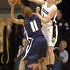 Alyssa Fressle of Colorado, blocks the shot of Jazmyne White of UC-Irvine on Sunday.<br /> <br /> Cliff Grassmick /November 15, 2009