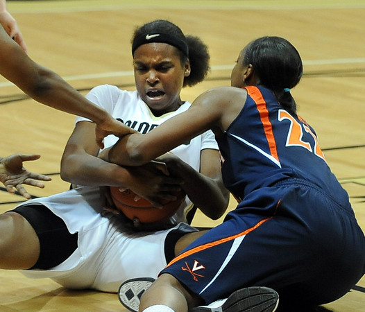 Brittany Spears of CU and Monica Wright of Virginia get tied up in the second half.<br /> <br /> Cliff Grassmick / January 2, 2010