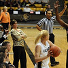 Colorado coach Kathy McConnell-Miller watches the inbound play late in the game with Virginia.<br /> <br /> Cliff Grassmick / January 2, 2010