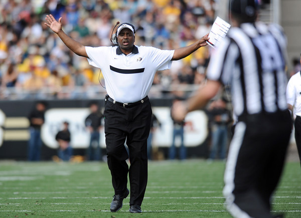 "University of Colorado Head Coach Jon Embree argues a call with the referee on Saturday, Oct. 1, during a football game against Washington State at Folsom Field in Boulder. CU lost the game 31-27. For more photos of the game go to  <a href=""http://www.dailycamera.com"">http://www.dailycamera.com</a><br /> Jeremy Papasso/ Camera"