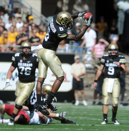 "Paul Richardson makes a catch against Washington State.<br /> For more photos of the CU game, go to  <a href=""http://www.dailycamera.com"">http://www.dailycamera.com</a>.<br />  Cliff Grassmick / October 1, 2011"
