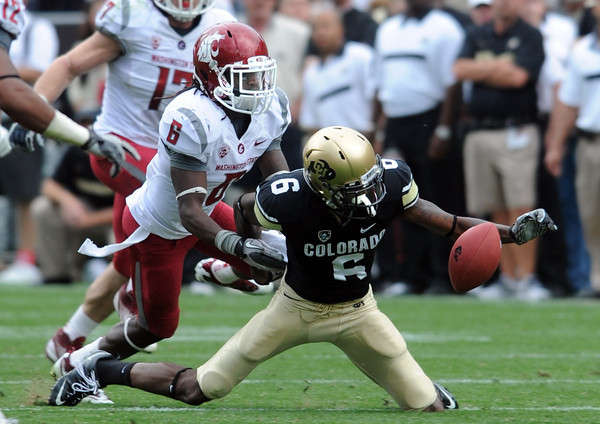 "Paul Richardson fumbles a reception  on the final drive of the game against Washington State.<br /> For more photos of the CU game, go to  <a href=""http://www.dailycamera.com"">http://www.dailycamera.com</a>.<br />  Cliff Grassmick / October 1, 2011"