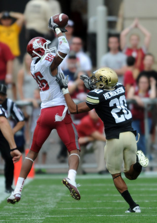 "Marquess Wilson of WSU catches a long pass over Greg Henderson of WSU.<br /> For more photos of the game, go to  <a href=""http://www.dailycamera.com"">http://www.dailycamera.com</a><br /> Cliff Grassmick / October 1, 2011, 2011"