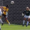 """CU keeper, Annie Brunner, tracks the shot  of Nahiomy Ortiz of Wyoming on Sunday.<br /> For more  soccer photos, go to  <a href=""""http://www.dailycamera.com"""">http://www.dailycamera.com</a>.<br /> Cliff Grassmick / August 22, 2010"""