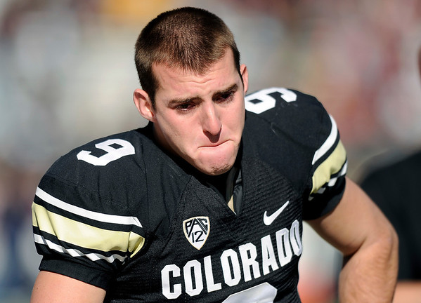 "University of Colorado's Tyler Hansen shows his emotion before the start of his last home game as a senior during a game against the University of Arizona on Saturday, Nov. 12, at Folsom Field on the CU campus in Boulder. CU won the game 48-29. For more photos of the game go to  <a href=""http://www.dailycamera.com"">http://www.dailycamera.com</a><br /> Jeremy Papasso/ Camera"