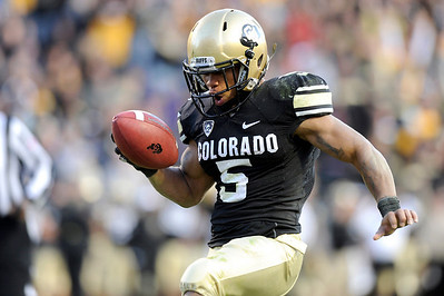University of Colorado's Rodney Stewart celebrates his fourth quarter touchdown in the end zone during a game against the University of Arizona on Saturday, Nov. 12, at Folsom Field on the CU campus in Boulder. CU won the game 48-29. For more photos of the game go to www.dailycamera.com Jeremy Papasso/ Camera