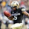 "University of Colorado's Rodney Stewart celebrates his fourth quarter touchdown in the end zone during a game against the University of Arizona on Saturday, Nov. 12, at Folsom Field on the CU campus in Boulder. CU won the game 48-29. For more photos of the game go to  <a href=""http://www.dailycamera.com"">http://www.dailycamera.com</a><br /> Jeremy Papasso/ Camera"