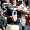 "University of Colorado's Tyler Hansen is hugged by Head Coach Jon Embree during a ceremony for the seniors before the start of the game against the University of Arizona on Saturday, Nov. 12, at Folsom Field on the CU campus in Boulder. CU won the game 48-29. For more photos of the game go to  <a href=""http://www.dailycamera.com"">http://www.dailycamera.com</a><br /> Jeremy Papasso/ Camera"