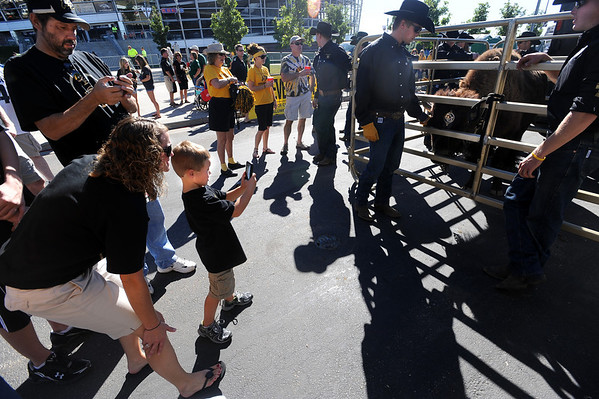 """Hillary Mantelli and her son, Owen, 5, of Castle Rock, take a  photo of Ralphie, the CU buffalo, before the game.<br /> For more photos of the game, go to  <a href=""""http://www.dailycamera.com"""">http://www.dailycamera.com</a>.<br /> Cliff Grassmick / September 4, 2010"""