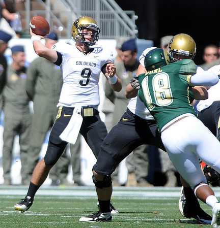 "CU QB Tyler Hansen throws against CSU.<br /> For more  photos of the game, go to  <a href=""http://www.dailycamera.com"">http://www.dailycamera.com</a><br /> Cliff Grassmick / September 4, 2010"