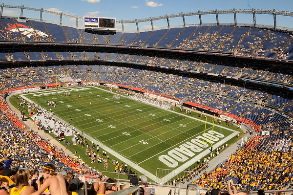 Fans fill part of Invesco Field during the game against Colorado State University on Saturday, Sept. 4, in Denver.<br /> Photo by JEREMY PAPASSO