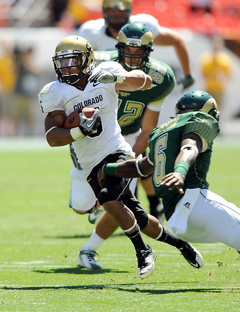 "Rodney Stewart  of CU had a good first half for the Buffs.<br /> For more photos of the game, go to  <a href=""http://www.dailycamera.com"">http://www.dailycamera.com</a><br /> Cliff Grassmick / September 4, 2010"