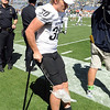 "Parker Orms of CU was injured during the CSU game.<br /> For more  photos of the game, go to  <a href=""http://www.dailycamera.com"">http://www.dailycamera.com</a><br /> Cliff Grassmick / September 4, 2010"