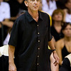Colorado assistant coach Steve McClain who took over the head coaching duties for head coach Jeff Bzelik watches his team in the first half in their game at the Maui Invitational NCAA college basketball tournament on Monday, Nov. 23, 2009. Gonzaga defeated Colorado 76-72.  (AP Photo/Eugene Tanner)