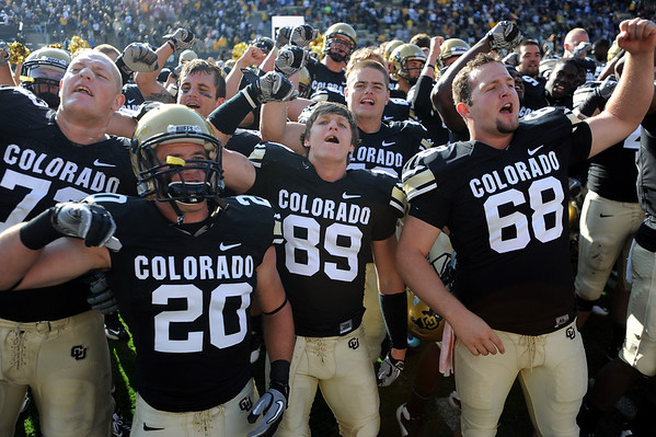"CU players sing the fight song after the win over Hawaii.<br /> For more photos from the game, go to  <a href=""http://www.dailycamera.com"">http://www.dailycamera.com</a>.<br />  Cliff Grassmick / September 18, 2010"