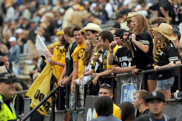 University of Colorado students cheer before the game on Saturday, Sept. 18, against the University of Hawaii at Folsom Field.<br /> Jeremy Papasso/ The Camera