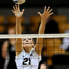 Colorado's Becah Fogle deflects a shot during their volleyball game against Kansas at the University of Colorado in Boulder, Colorado November 4, 2009. CAMERA/Mark Leffingwell