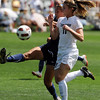 "Laura Wayland, left, of UNC, and Erin Bricker of CU, battle for control of the ball.<br /> For more photos of the game, go to  <a href=""http://www.dailycamera.com"">http://www.dailycamera.com</a>.<br /> Cliff Grassmick / August 29, 2010"