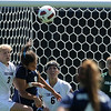 "Alex Dohm, left, of CU, and JJ Wykstra of UNC, go for the header, while Amy Barczuk (6) and Annie Brunner (1) of CU follow the ball.<br /> For more photos of the game, go to  <a href=""http://www.dailycamera.com"">http://www.dailycamera.com</a>.<br /> Cliff Grassmick / August 29, 2010"