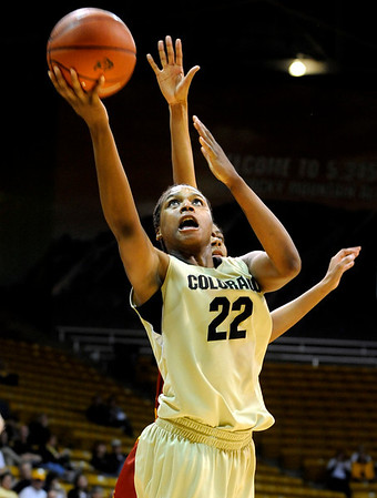 University of Colorado senior Brittany Spears takes a shot during the 2011  WNIT  game against Southern California on Sunday, March 27, at the Coors Event Center on the CU campus in Boulder.<br /> The Buffs lost the game 87-70.<br />  Jeremy Papasso/ Camera