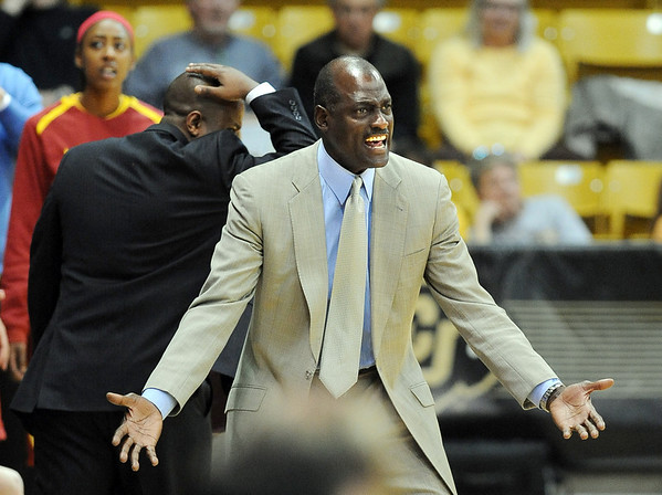 "USC head coach, Michael Cooper, reacts to a call in the CU game on Sunday.<br /> For more photos of the game, go to  <a href=""http://www.dailycamera.com"">http://www.dailycamera.com</a>.<br /> Cliff Grassmick / March 27, 2011"