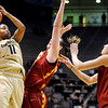University of Colorado freshman Brittany Wilson takes a shot during the 2011  WNIT  game against Southern California on Sunday, March 27, at the Coors Event Center on the CU campus in Boulder.<br /> The Buffs lost the game 87-70.<br />  Jeremy Papasso/ Camera