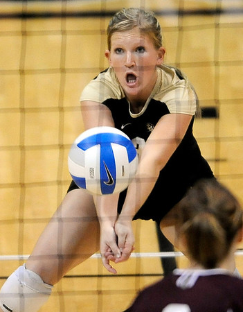 Colorado's Sofia Lindroth takes a serve from A&M during their vollyball game at University of Colorado in Boulder, Colorado November 25, 2009. CAMERA/Mark Leffingwell
