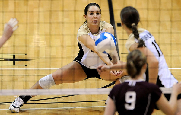 Colorado's Katie Evanyo bumps the ball up after a serve from A&M during their vollyball game at University of Colorado in Boulder, Colorado November 25, 2009. CAMERA/Mark Leffingwell