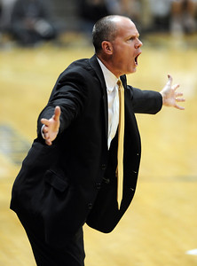 Colorado coach Tad Boyle argues a call during the first half of the March 18, 2011 NIT game in Boulder, Colo. For more photos of the game, go to www.dailycamera.com. Cliff Grassmick / March 18, 2011