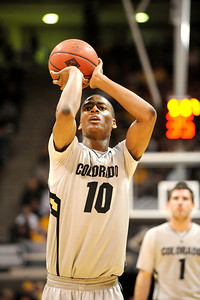 University of Colorado sophomore Alec Burks shoots a free-throw after getting fouled during the second round of the NIT basketball tournament against the University of California on Friday, March 18, at the Coors Event Center in Boulder. For more photos go to www.dailycamera.com Jeremy Papasso/ Camera