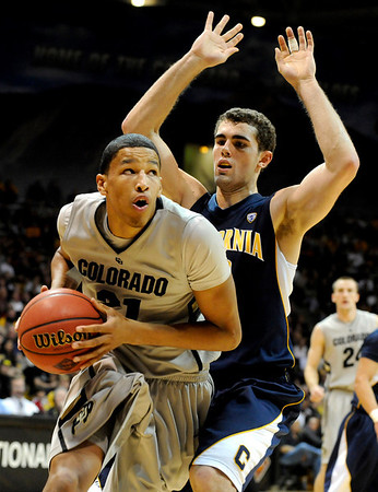 "University of Colorado freshman Andre Roberson drives towards the hoop during the second round of the NIT basketball tournament against the University of California on Friday, March 18, at the Coors Event Center in Boulder. For more photos go to  <a href=""http://www.dailycamera.com"">http://www.dailycamera.com</a><br /> Jeremy Papasso/ Camera"