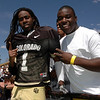 Darrell Scott, right, who signed with the Buffs, says poses with  his uncle Josh Smith during the spring game on April 19, 2008 in Boulder. Photo by Cliff Grassmick