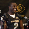 S0809CUFB113.JPG Darrell Scott talks to the media on CU football media day on Saturday.<br /> Cliff Grassmick / August 8, 2009