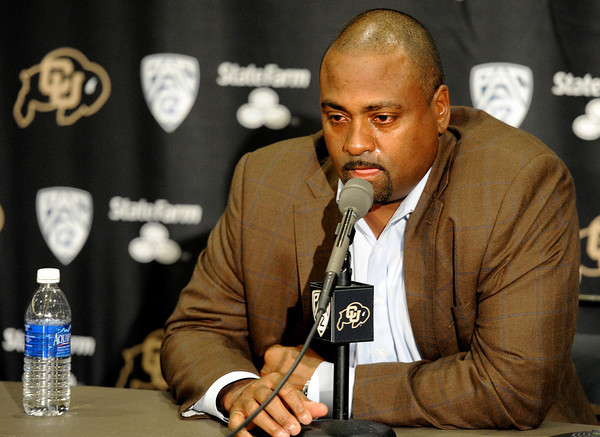 "Jon Embree Fired011.JPG Tears run down the face of University of Colorado Head Coach Jon Embree as he speaks during a press conference on Monday, Nov. 26, at the Dal Ward Athletic Center on the CU campus in Boulder. For more photos and video of the press conference go to  <a href=""http://www.dailycamera.com"">http://www.dailycamera.com</a><br /> Jeremy Papasso/ Camera"