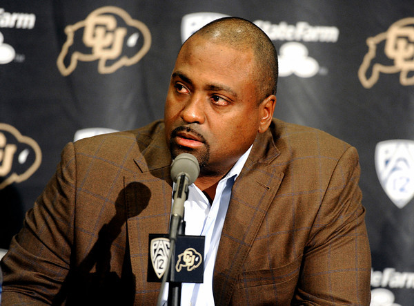 """Embree019x.jpg Embree019x.jpg University of Colorado Head Coach Jon Embree speaks during a press conference on Monday, Nov. 26, at the Dal Ward Athletic Center on the CU campus in Boulder. For more photos and video of the press conference go to  <a href=""""http://www.dailycamera.com"""">http://www.dailycamera.com</a><br /> Jeremy Papasso/ Camera"""