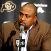 "Embree019x.jpg Embree019x.jpg University of Colorado Head Coach Jon Embree speaks during a press conference on Monday, Nov. 26, at the Dal Ward Athletic Center on the CU campus in Boulder. For more photos and video of the press conference go to  <a href=""http://www.dailycamera.com"">http://www.dailycamera.com</a><br /> Jeremy Papasso/ Camera"