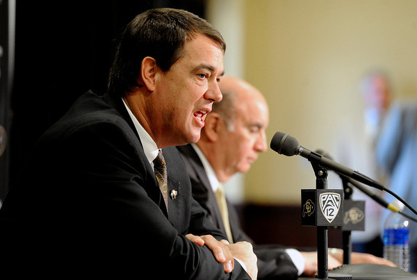 "University of Colorado Athletic Director Mike Bohn speaks of the firing of Head Football Coach Jon Embree during a press conference on Monday, Nov. 26, at the Dal Ward Athletic Center on the CU campus in Boulder. For more photos and video of the press conference go to  <a href=""http://www.dailycamera.com"">http://www.dailycamera.com</a><br /> Jeremy Papasso/ Camera"