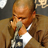 "Jon Embree Fired010.JPG University of Colorado Head Coach Jon Embree wipes tears from h is eyes while speaking during a press conference on Monday, Nov. 26, at the Dal Ward Athletic Center on the CU campus in Boulder. For more photos and video of the press conference go to  <a href=""http://www.dailycamera.com"">http://www.dailycamera.com</a><br /> Jeremy Papasso/ Camera"