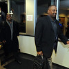 New University of Colorado football coaches, Jon Embree,  right, and Eric Bieniemy arrive at  the Denver Air Center in Broomfield on Sunday night. They will be introduced at 10 a.m. Monday at Folsom Field.<br /> Cliff Grassmick / December 5, 2010